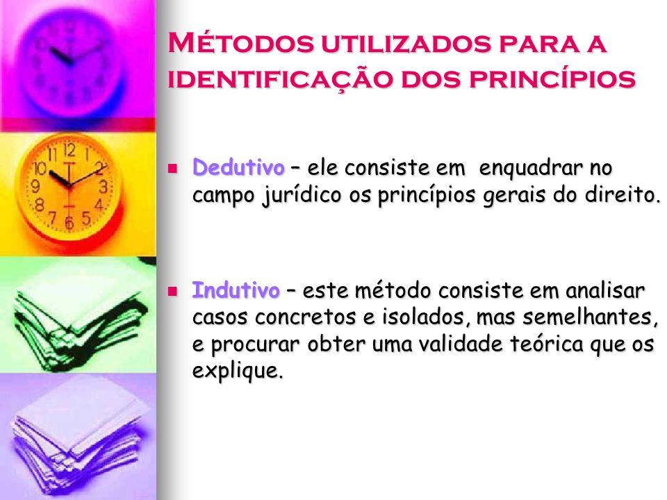 Métodos utilizados para a identificação dos princípios Dedutivo – ele consiste em enquadrar no campo jurídico os princípios gerais do direito. Dedutiv