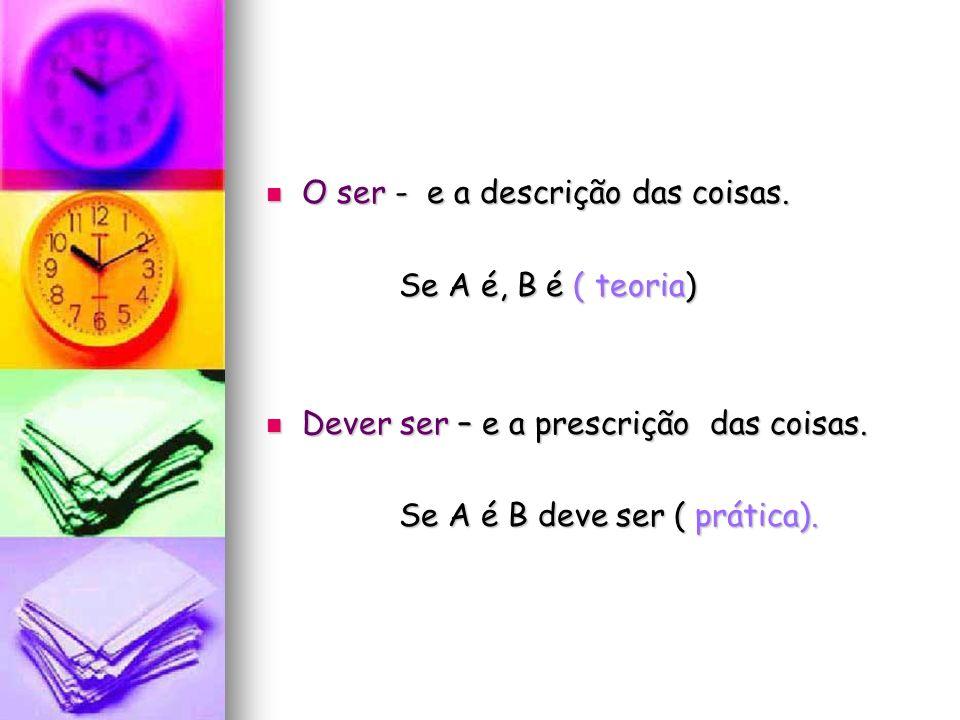O ser - e a descrição das coisas. O ser - e a descrição das coisas. Se A é, B é ( teoria) Se A é, B é ( teoria) Dever ser – e a prescrição das coisas.