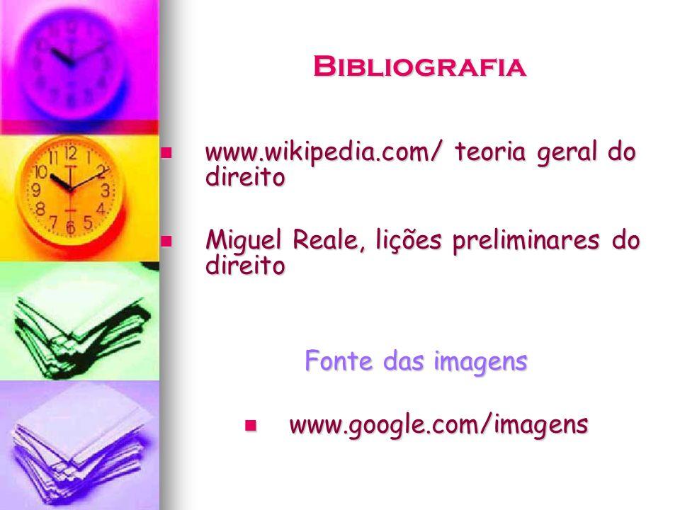 Bibliografia www.wikipedia.com/ teoria geral do direito www.wikipedia.com/ teoria geral do direito Miguel Reale, lições preliminares do direito Miguel