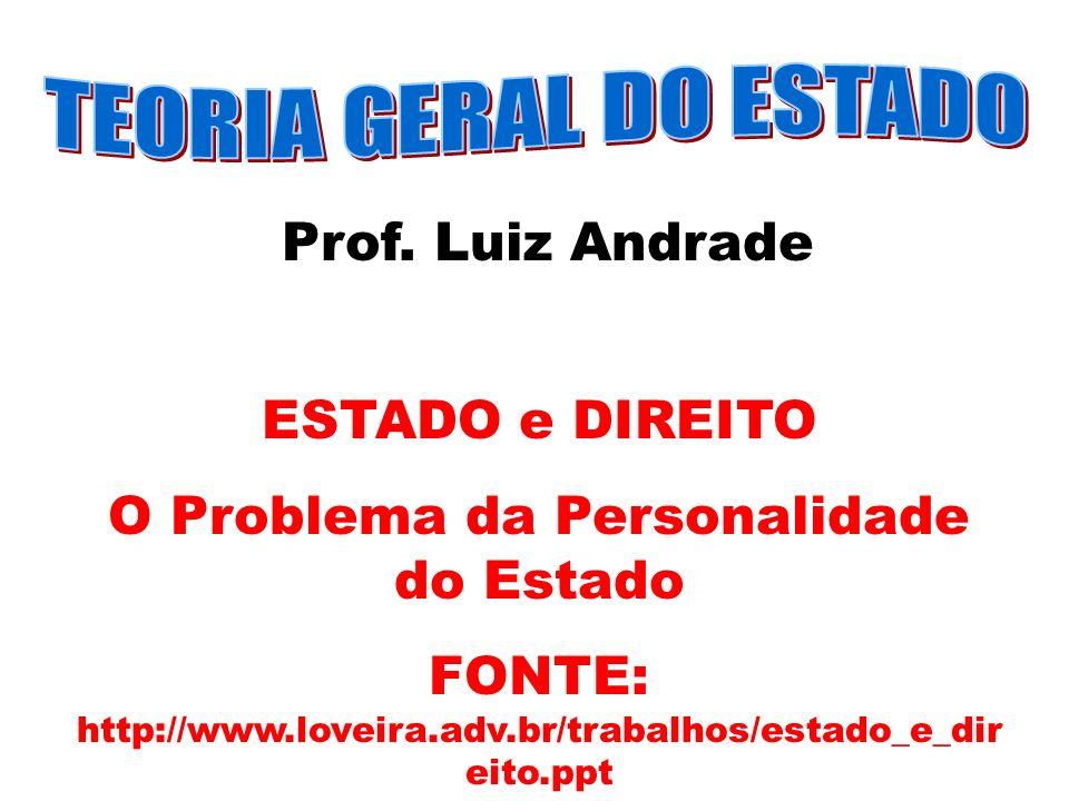 Prof. Luiz Andrade ESTADO e DIREITO O Problema da Personalidade do Estado FONTE: http://www.loveira.adv.br/trabalhos/estado_e_dir eito.ppt