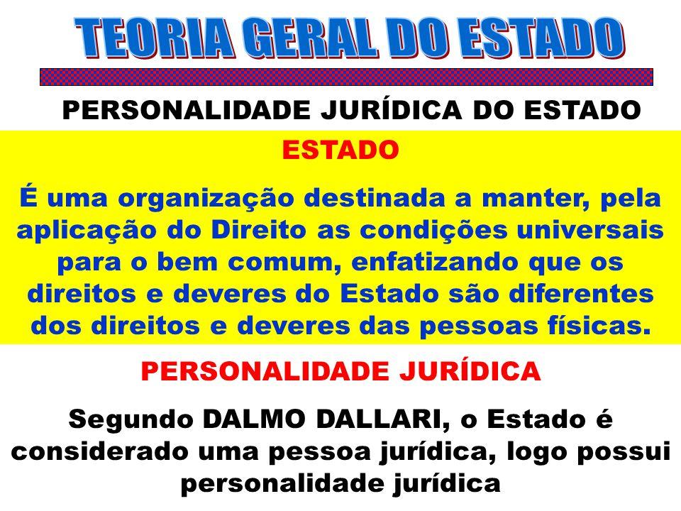 PERSONALIDADE JURÍDICA DO ESTADO ESTADO É uma organização destinada a manter, pela aplicação do Direito as condições universais para o bem comum, enfa