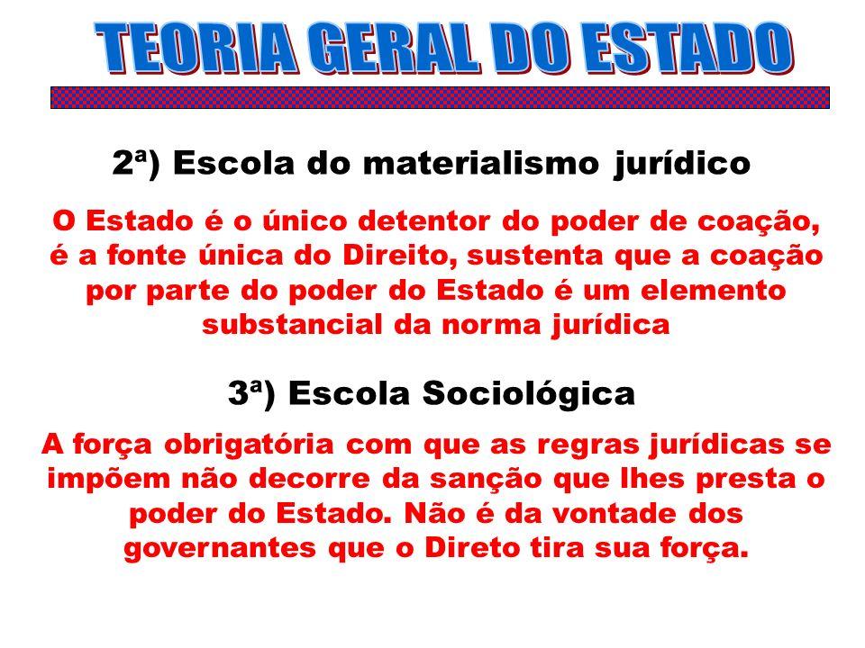 2ª) Escola do materialismo jurídico O Estado é o único detentor do poder de coação, é a fonte única do Direito, sustenta que a coação por parte do pod