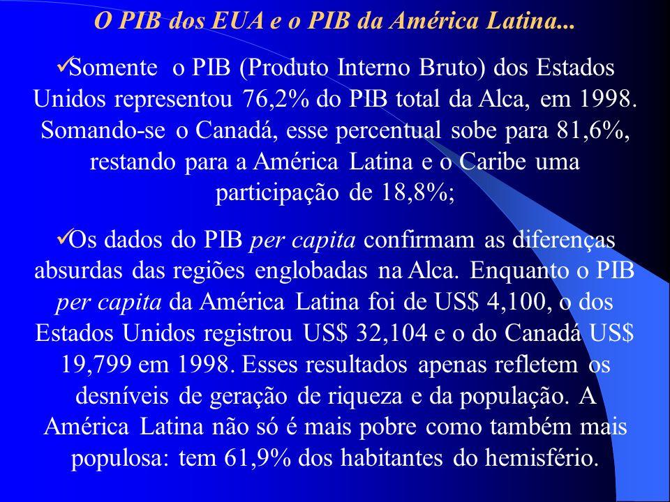 O PIB dos EUA e o PIB da América Latina... Somente o PIB (Produto Interno Bruto) dos Estados Unidos representou 76,2% do PIB total da Alca, em 1998. S