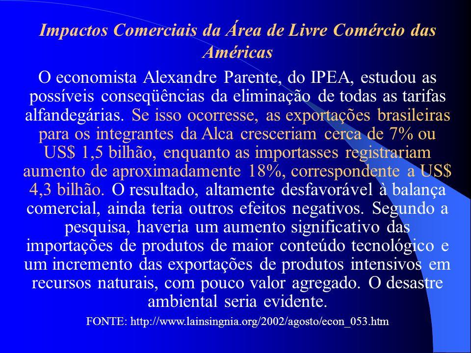 Impactos Comerciais da Área de Livre Comércio das Américas O economista Alexandre Parente, do IPEA, estudou as possíveis conseqüências da eliminação d