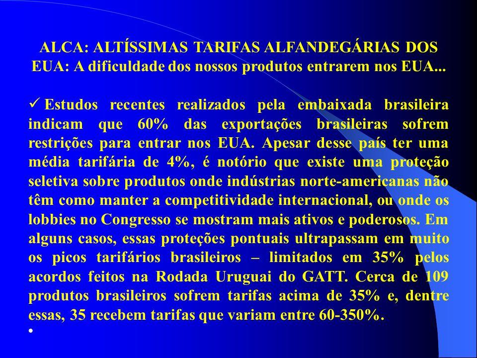 ALCA: ALTÍSSIMAS TARIFAS ALFANDEGÁRIAS DOS EUA: A dificuldade dos nossos produtos entrarem nos EUA... Estudos recentes realizados pela embaixada brasi