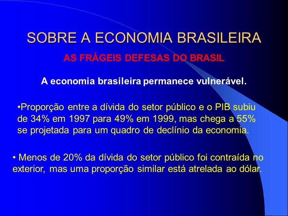 AS FRÁGEIS DEFESAS DO BRASIL A economia brasileira permanece vulnerável. Proporção entre a dívida do setor público e o PIB subiu de 34% em 1997 para 4