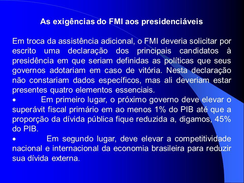 As exigências do FMI aos presidenciáveis Em troca da assistência adicional, o FMI deveria solicitar por escrito uma declaração dos principais candidat