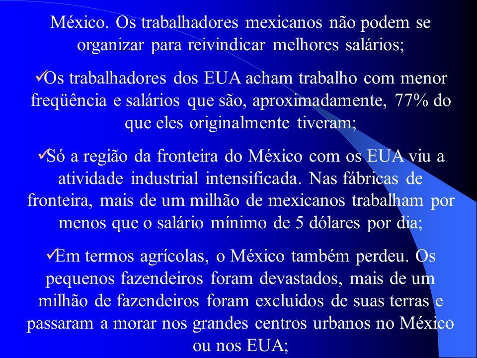 México. Os trabalhadores mexicanos não podem se organizar para reivindicar melhores salários; Os trabalhadores dos EUA acham trabalho com menor freqüê