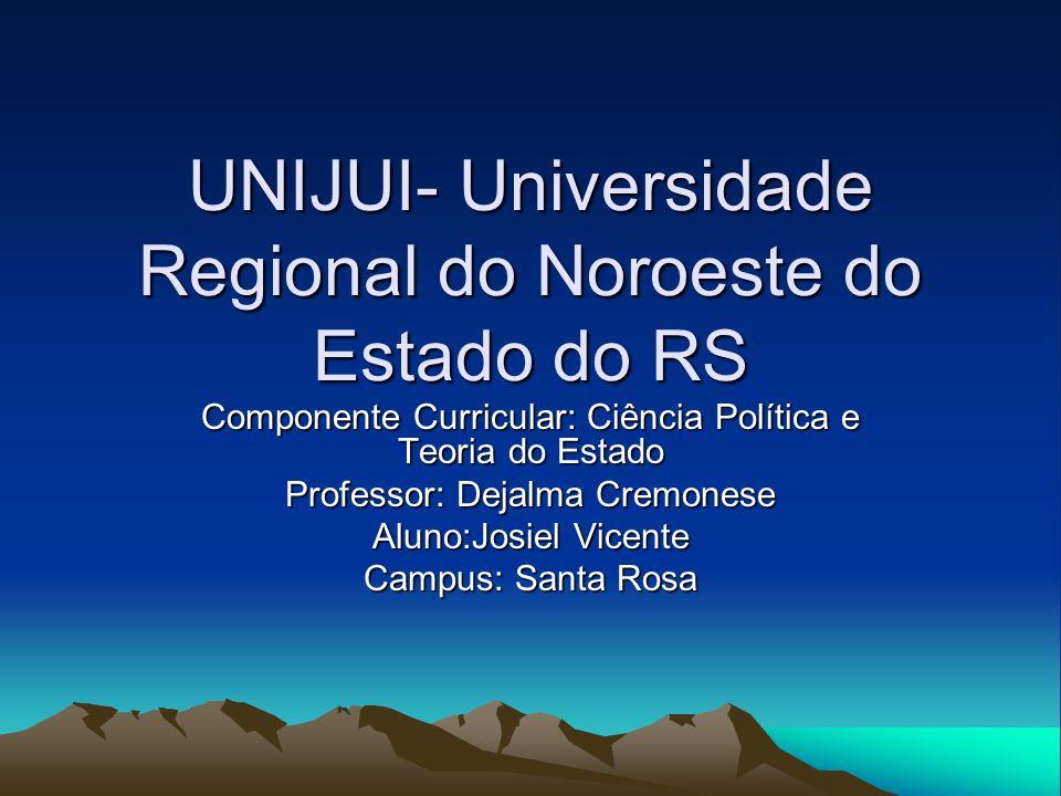 UNIJUI- Universidade Regional do Noroeste do Estado do RS Componente Curricular: Ciência Política e Teoria do Estado Professor: Dejalma Cremonese Alun