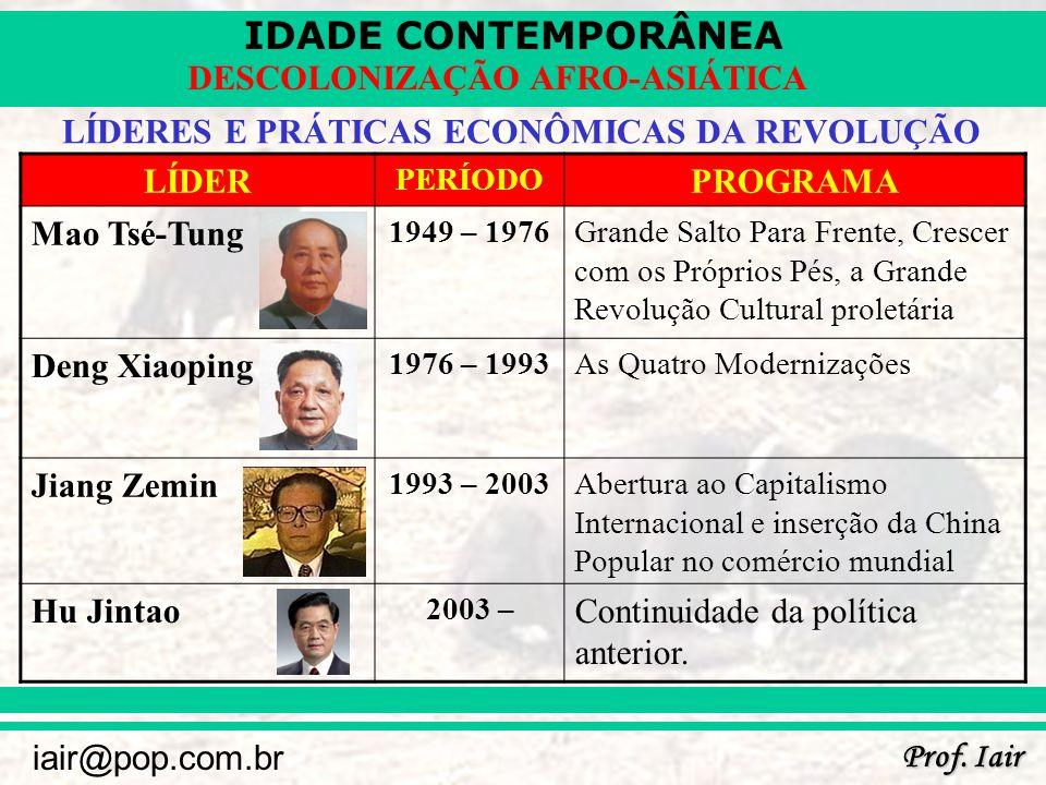 IDADE CONTEMPORÂNEA Prof. Iair iair@pop.com.br DESCOLONIZAÇÃO AFRO-ASIÁTICA LÍDERES E PRÁTICAS ECONÔMICAS DA REVOLUÇÃO LÍDER PERÍODO PROGRAMA Mao Tsé-
