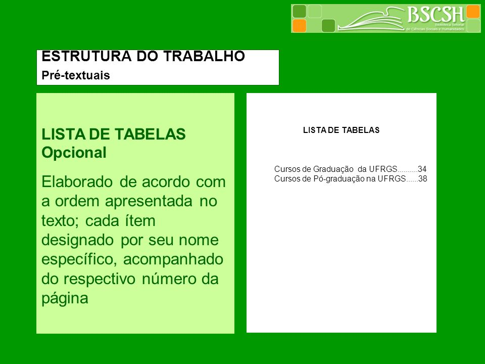 LISTA DE TABELAS Opcional Elaborado de acordo com a ordem apresentada no texto; cada ítem designado por seu nome específico, acompanhado do respectivo