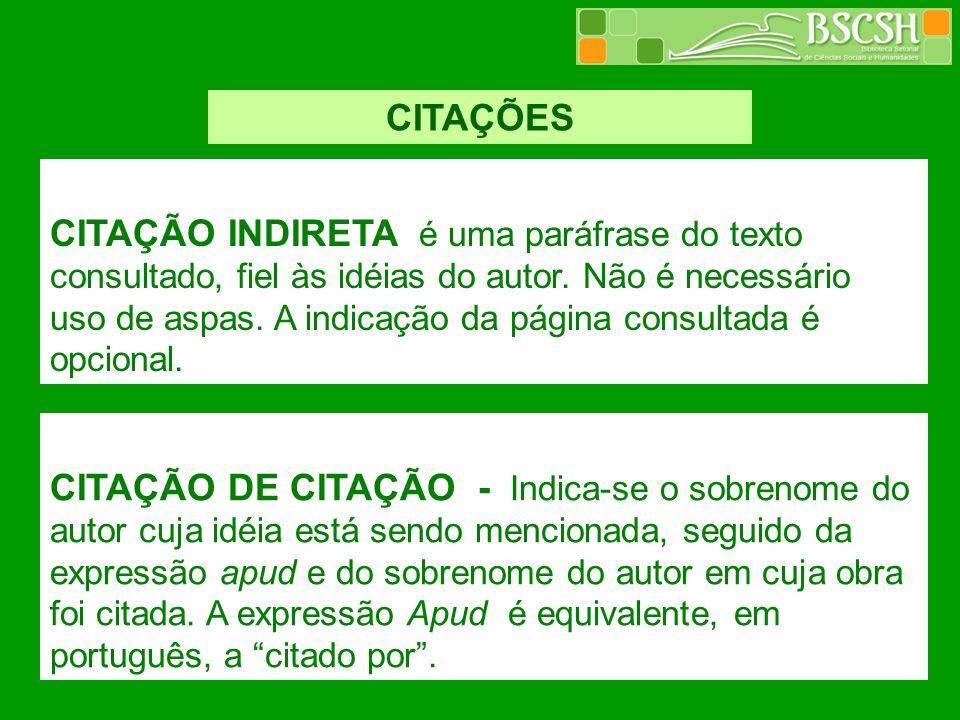 CITAÇÕES CITAÇÃO INDIRETA é uma paráfrase do texto consultado, fiel às idéias do autor. Não é necessário uso de aspas. A indicação da página consultad