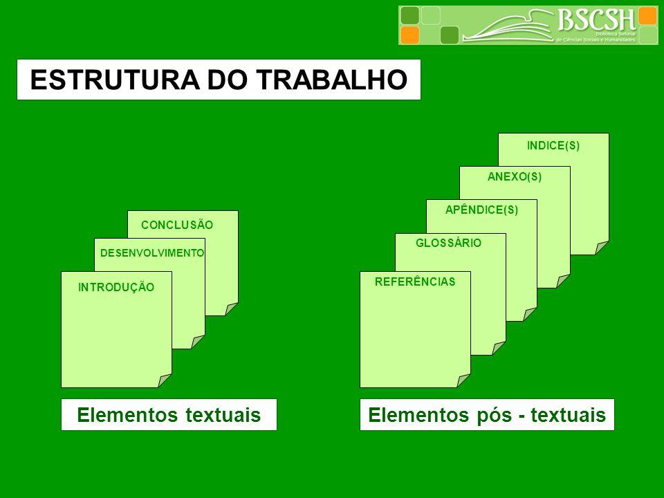 INTRODUÇÃO DESENVOLVIMENTO CONCLUSÃO REFERÊNCIAS GLOSSÁRIO APÊNDICE(S) ANEXO(S) INDICE(S) ESTRUTURA DO TRABALHO Elementos textuaisElementos pós - text