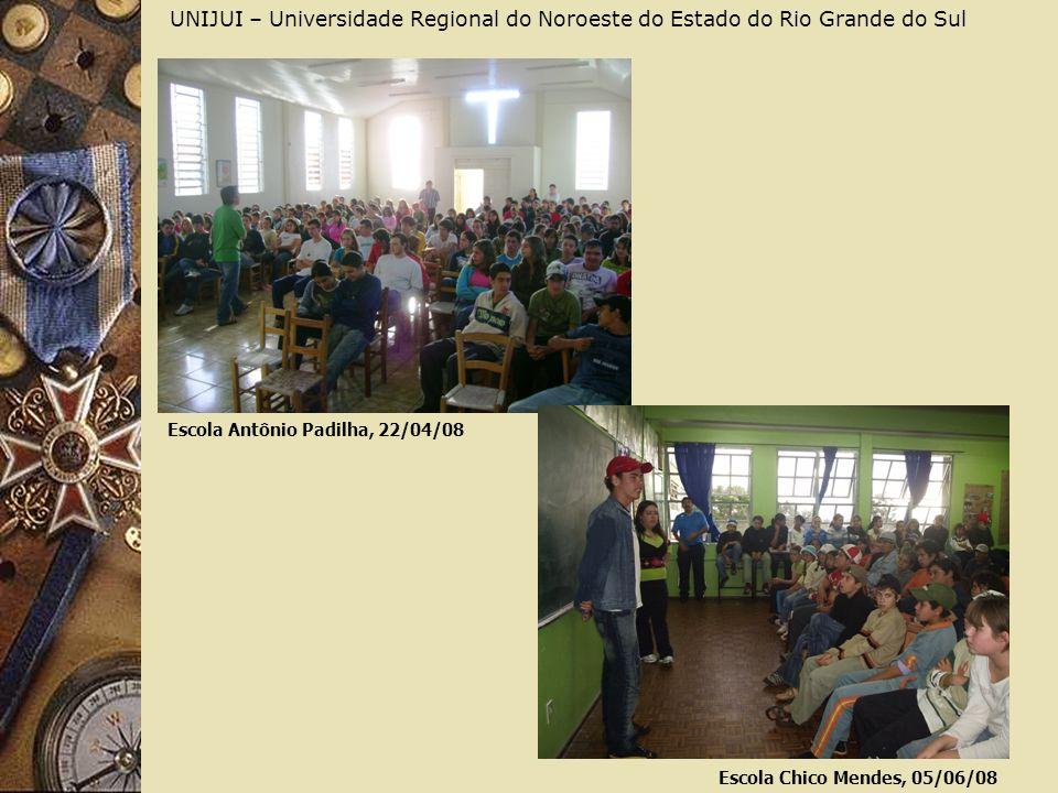 UNIJUI – Universidade Regional do Noroeste do Estado do Rio Grande do Sul Escola Antônio Padilha, 22/04/08 Escola Chico Mendes, 05/06/08