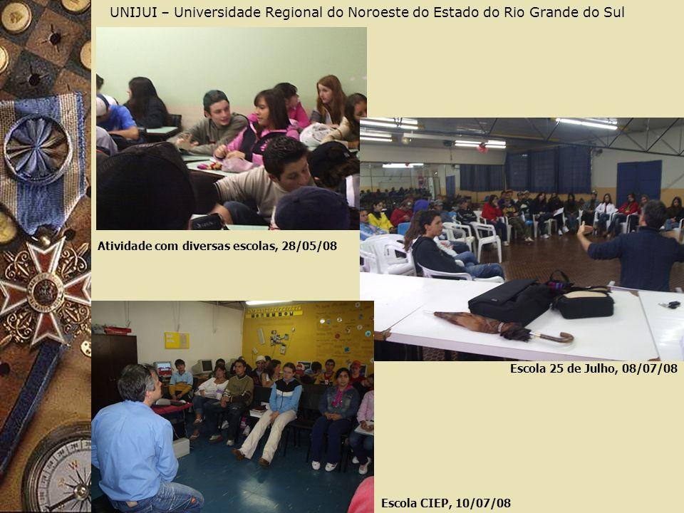 UNIJUI – Universidade Regional do Noroeste do Estado do Rio Grande do Sul Atividade com diversas escolas, 28/05/08 Escola 25 de Julho, 08/07/08 Escola