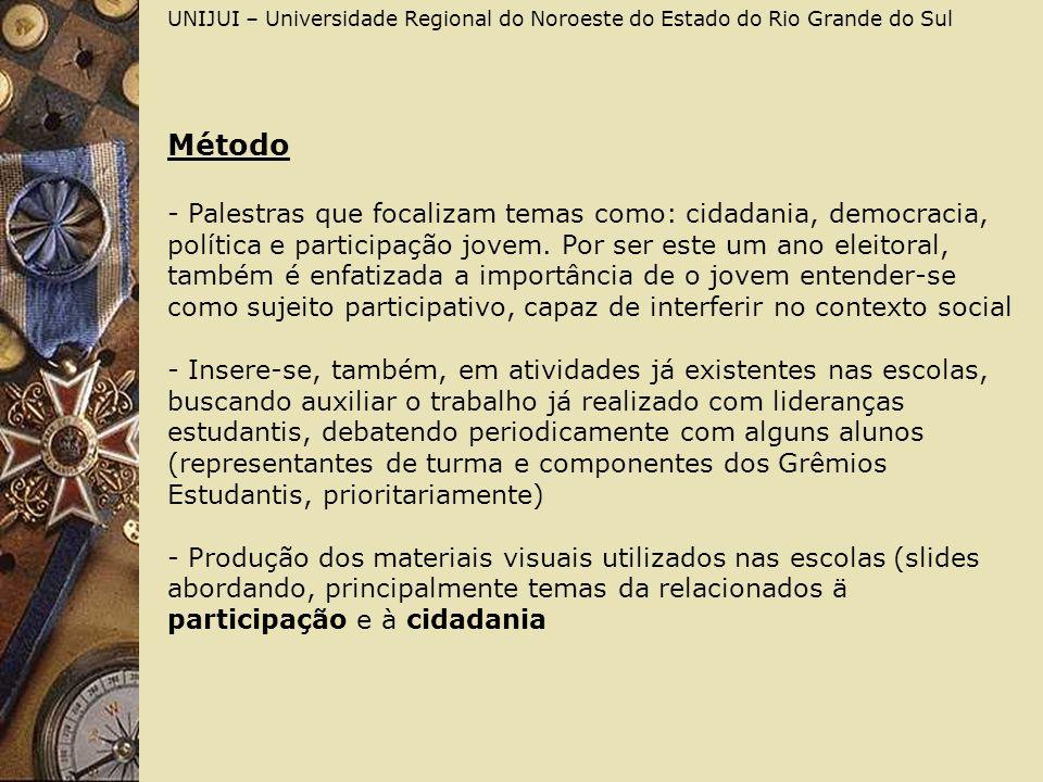 UNIJUI – Universidade Regional do Noroeste do Estado do Rio Grande do Sul Método - Palestras que focalizam temas como: cidadania, democracia, política