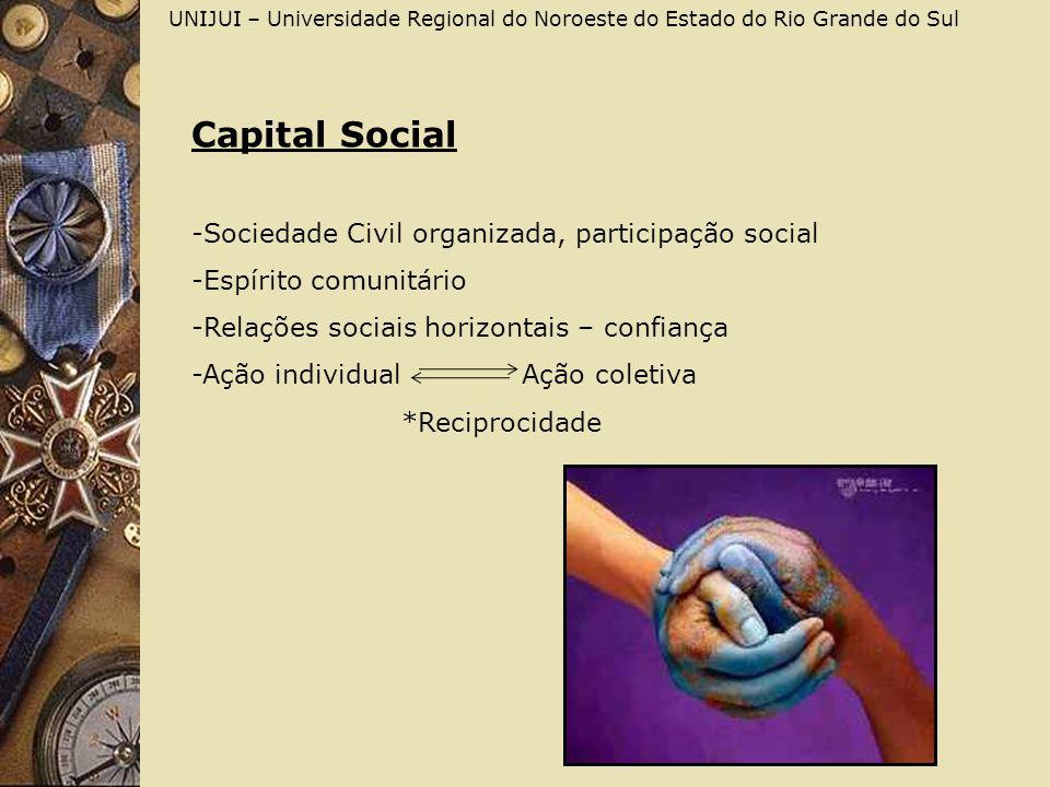 UNIJUI – Universidade Regional do Noroeste do Estado do Rio Grande do Sul Capital Social -Sociedade Civil organizada, participação social -Espírito co