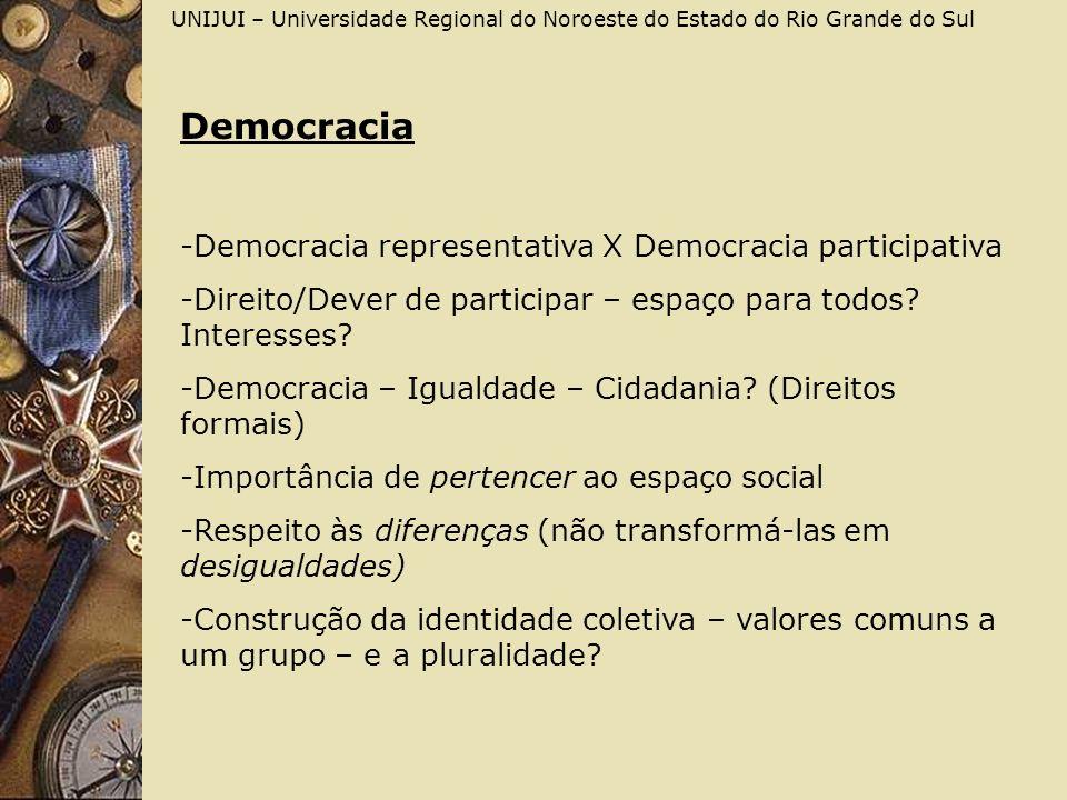 UNIJUI – Universidade Regional do Noroeste do Estado do Rio Grande do Sul Democracia -Democracia representativa X Democracia participativa -Direito/De