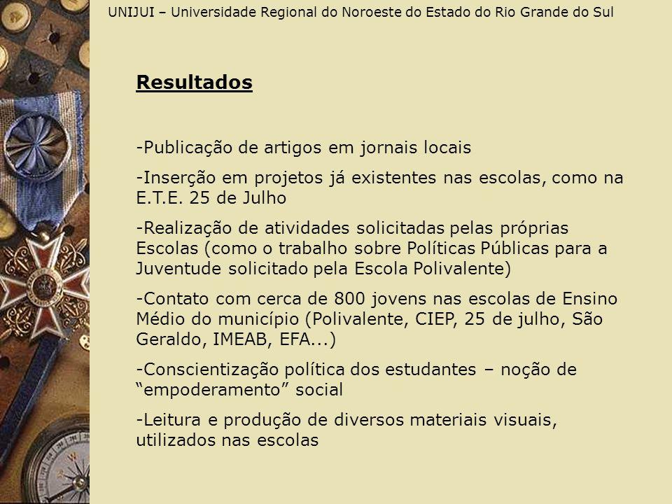 UNIJUI – Universidade Regional do Noroeste do Estado do Rio Grande do Sul Resultados -Publicação de artigos em jornais locais -Inserção em projetos já