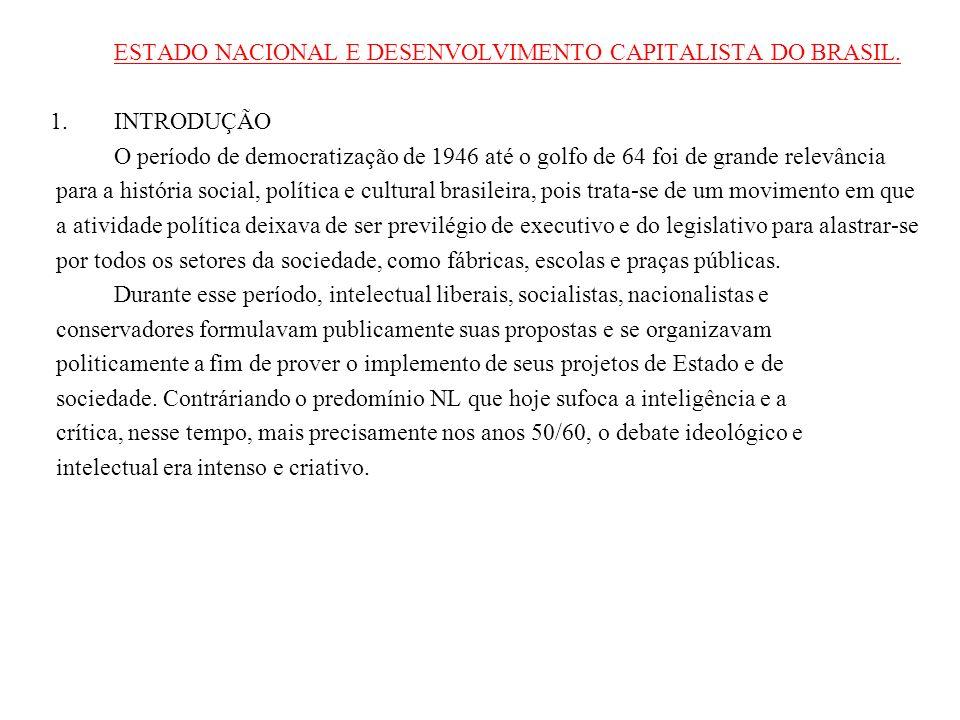 ESTADO NACIONAL E DESENVOLVIMENTO CAPITALISTA DO BRASIL. 1.INTRODUÇÃO O período de democratização de 1946 até o golfo de 64 foi de grande relevância p
