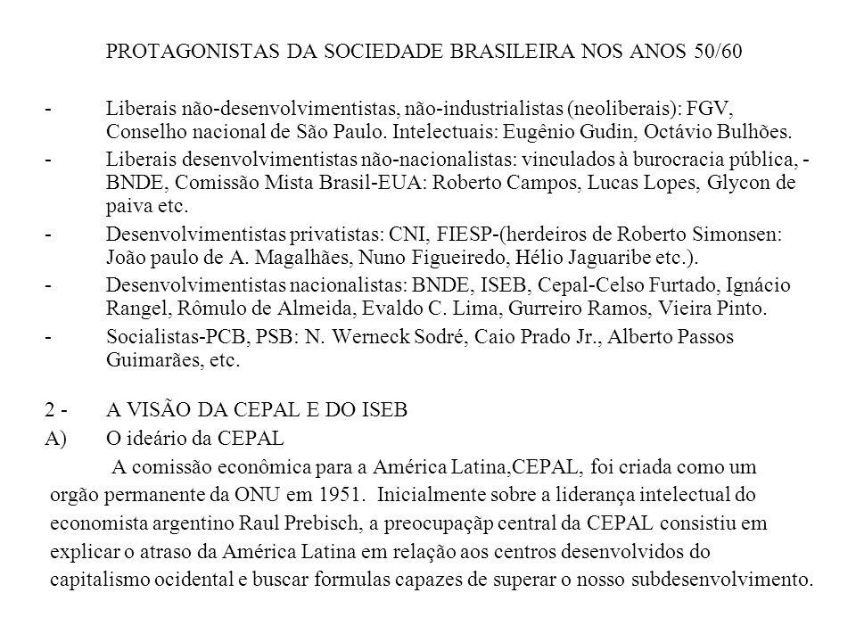 PROTAGONISTAS DA SOCIEDADE BRASILEIRA NOS ANOS 50/60 - Liberais não-desenvolvimentistas, não-industrialistas (neoliberais): FGV, Conselho nacional de