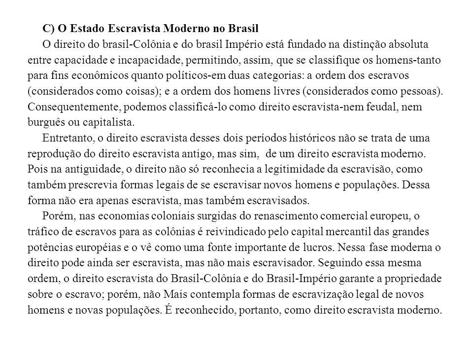 C) O Estado Escravista Moderno no Brasil O direito do brasil-Colônia e do brasil Império está fundado na distinção absoluta entre capacidade e incapac