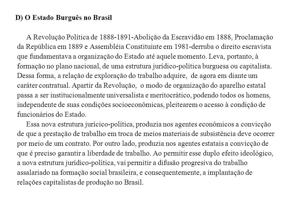 D) O Estado Burguês no Brasil A Revolução Política de 1888-1891-Abolição da Escravidão em 1888, Proclamação da República em 1889 e Assembléia Constituinte em 1981-derruba o direito escravista que fundamentava a organização do Estado até aquele momento.