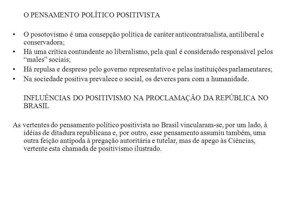 O QUE O POSITIVISMO ILUSTRADO PREGAVA A ação política não-voltada ao puro e simples exercício do poder, mas com o objetivo de instaurar uma outra forma de regime; Contribuições tendentes ao fortalecimento do Executivo, e não da instituição parlamentar; POSITIVISMO E RELIGIÃO A versão religiosa do positivismo apareceu no Brasil no final dos anos 70, com a fundação da Sociedade Positivista do Rio de Janeiro (1879) e da Igreja Positivista Brasileira.