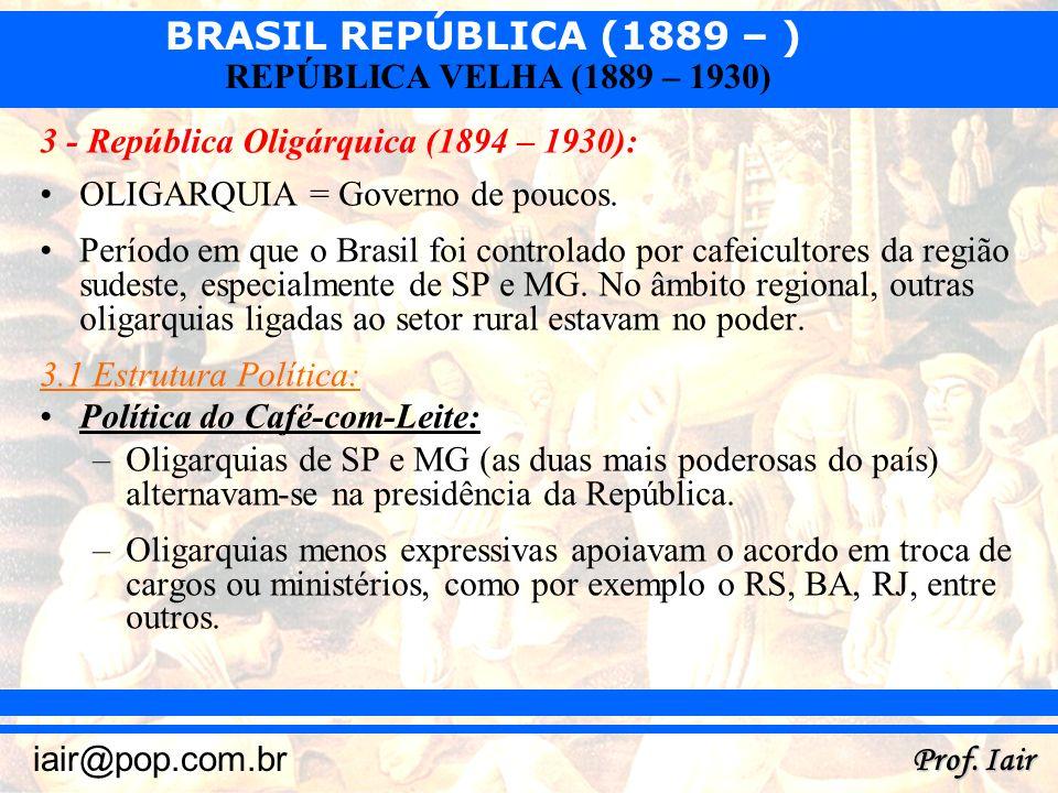 BRASIL REPÚBLICA (1889 – ) Prof. Iair iair@pop.com.br REPÚBLICA VELHA (1889 – 1930) 3 - República Oligárquica (1894 – 1930): OLIGARQUIA = Governo de p