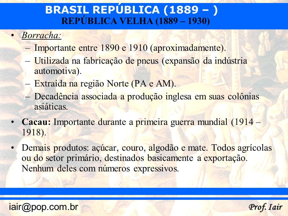 BRASIL REPÚBLICA (1889 – ) Prof. Iair iair@pop.com.br REPÚBLICA VELHA (1889 – 1930) Borracha: –Importante entre 1890 e 1910 (aproximadamente). –Utiliz