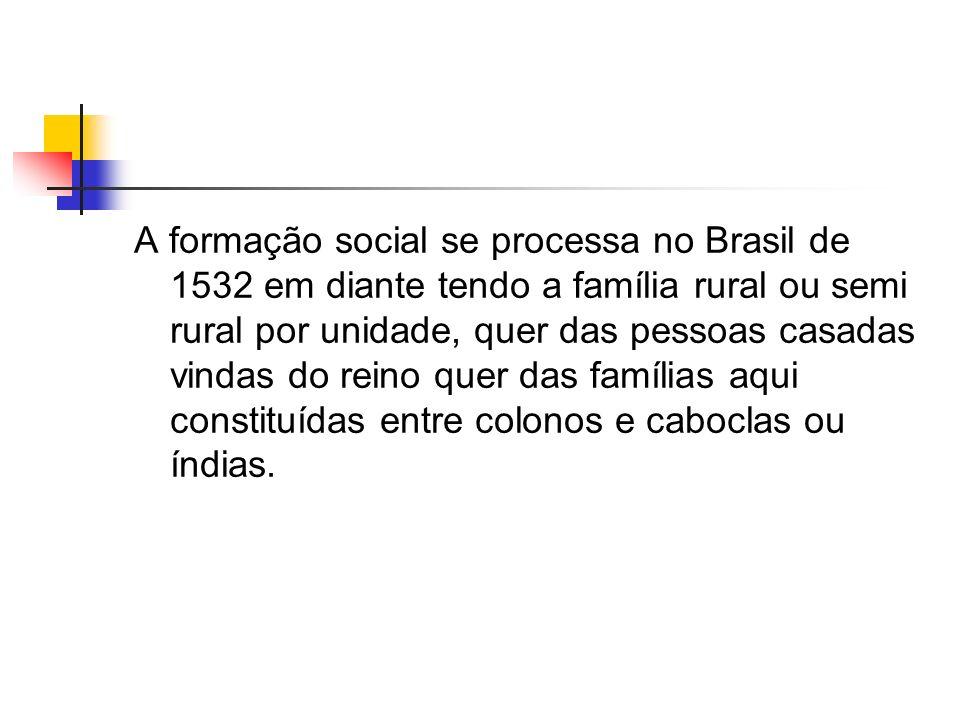 A formação social se processa no Brasil de 1532 em diante tendo a família rural ou semi rural por unidade, quer das pessoas casadas vindas do reino qu
