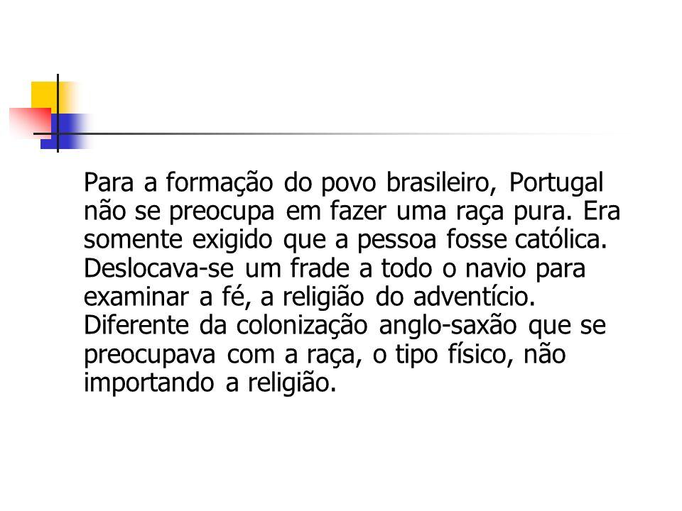 Para a formação do povo brasileiro, Portugal não se preocupa em fazer uma raça pura. Era somente exigido que a pessoa fosse católica. Deslocava-se um