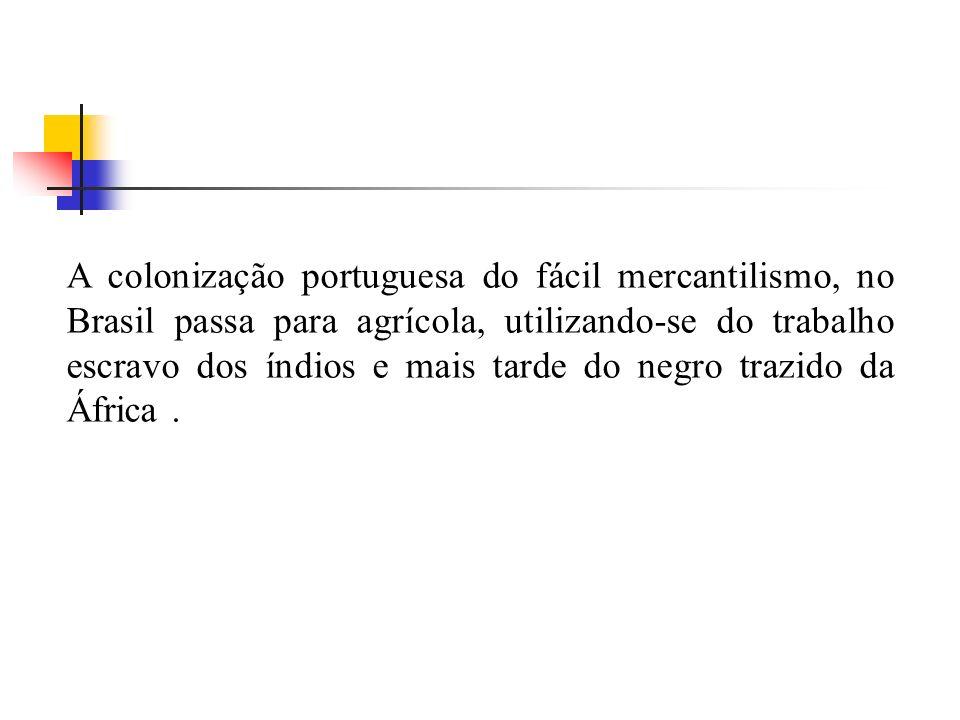 A colonização portuguesa do fácil mercantilismo, no Brasil passa para agrícola, utilizando-se do trabalho escravo dos índios e mais tarde do negro tra