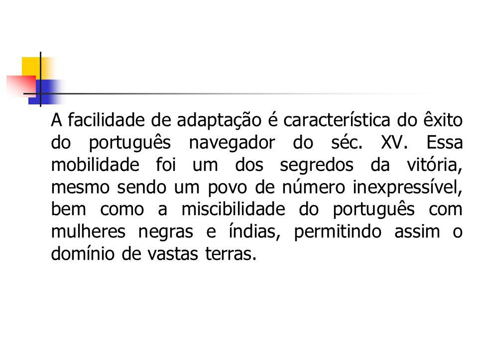 A facilidade de adaptação é característica do êxito do português navegador do séc. XV. Essa mobilidade foi um dos segredos da vitória, mesmo sendo um