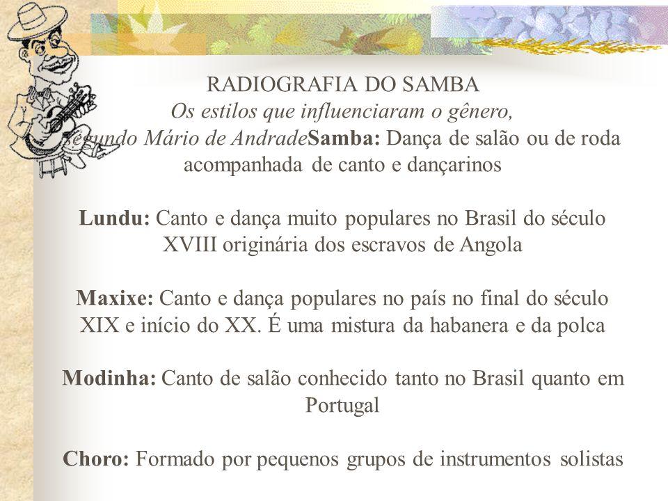RADIOGRAFIA DO SAMBA Os estilos que influenciaram o gênero, segundo Mário de AndradeSamba: Dança de salão ou de roda acompanhada de canto e dançarinos