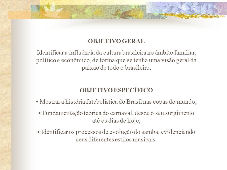 OBJETIVO GERAL Identificar a influência da cultura brasileira no âmbito familiar, político e econômico, de forma que se tenha uma visão geral da paixã