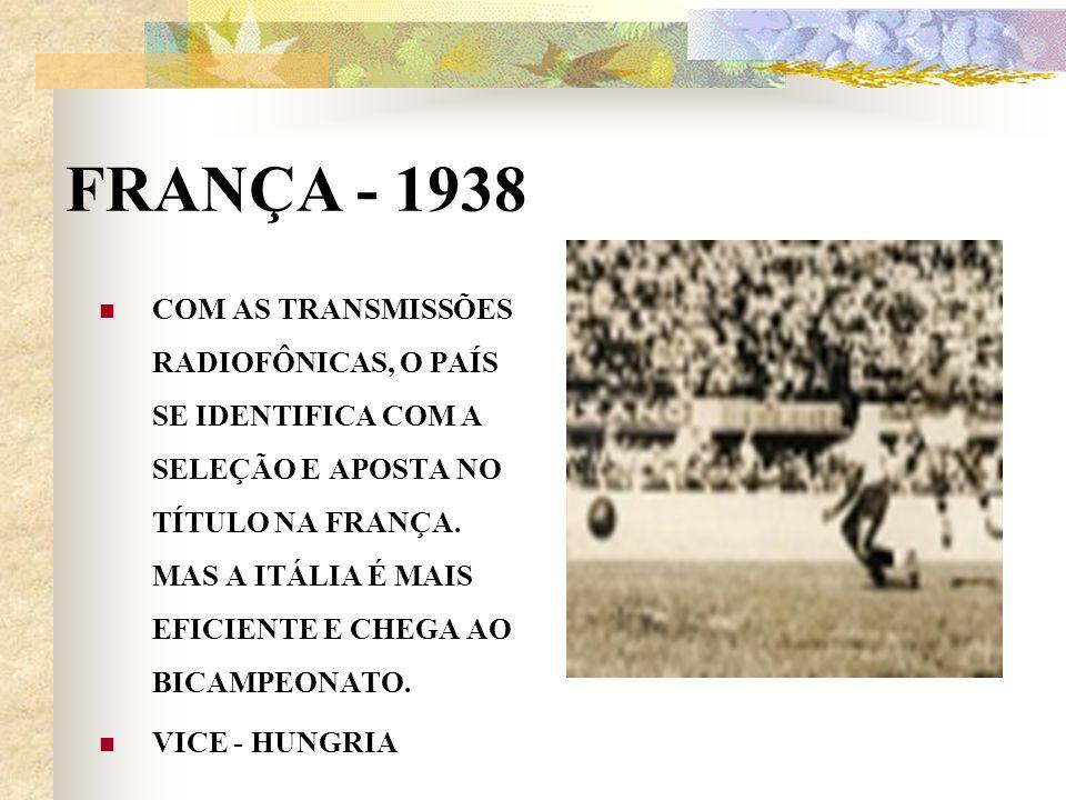 FRANÇA - 1938 COM AS TRANSMISSÕES RADIOFÔNICAS, O PAÍS SE IDENTIFICA COM A SELEÇÃO E APOSTA NO TÍTULO NA FRANÇA. MAS A ITÁLIA É MAIS EFICIENTE E CHEGA