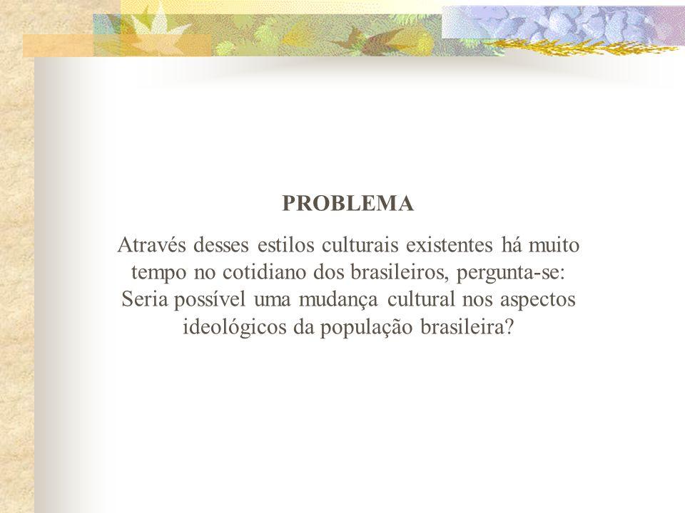 PROBLEMA Através desses estilos culturais existentes há muito tempo no cotidiano dos brasileiros, pergunta-se: Seria possível uma mudança cultural nos