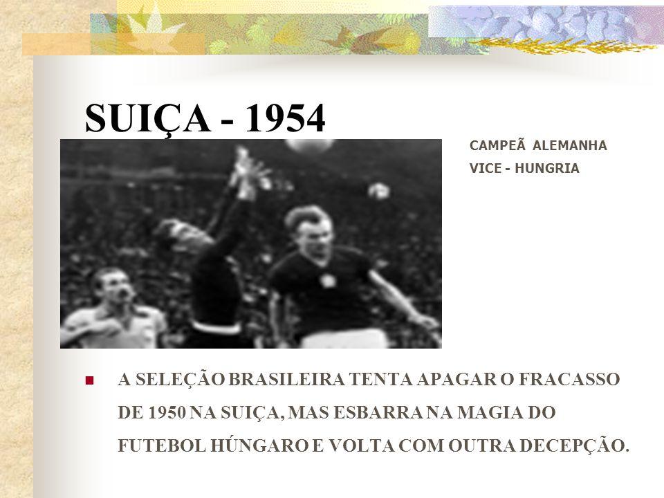 SUIÇA - 1954 A SELEÇÃO BRASILEIRA TENTA APAGAR O FRACASSO DE 1950 NA SUIÇA, MAS ESBARRA NA MAGIA DO FUTEBOL HÚNGARO E VOLTA COM OUTRA DECEPÇÃO. CAMPEÃ