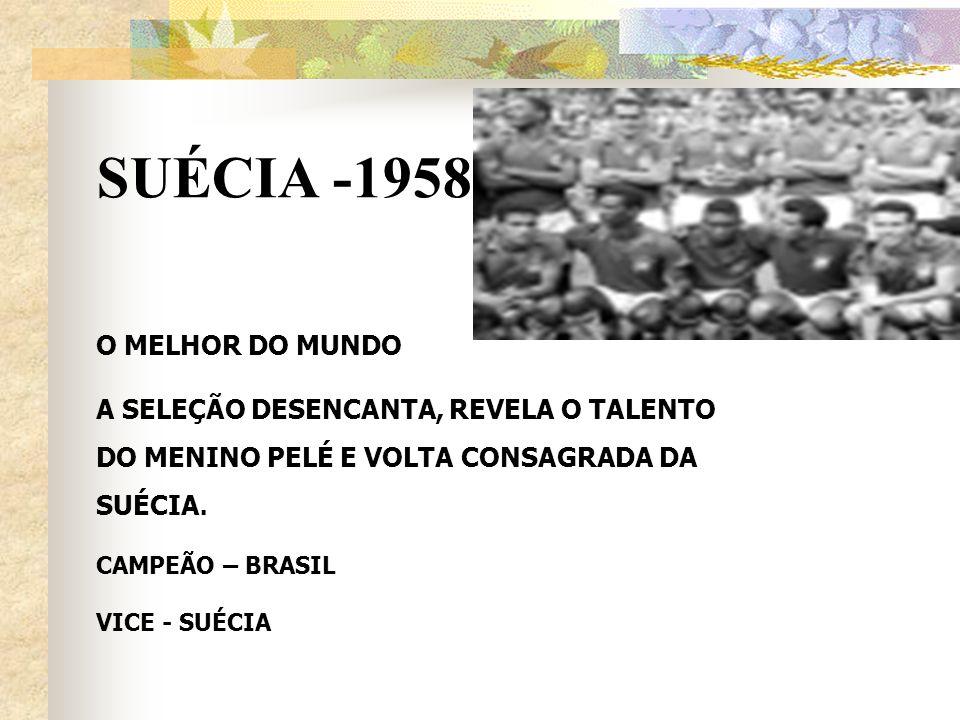 SUÉCIA -1958 O MELHOR DO MUNDO A SELEÇÃO DESENCANTA, REVELA O TALENTO DO MENINO PELÉ E VOLTA CONSAGRADA DA SUÉCIA. CAMPEÃO – BRASIL VICE - SUÉCIA
