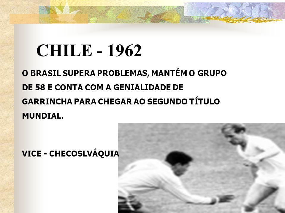 CHILE - 1962 O BRASIL SUPERA PROBLEMAS, MANTÉM O GRUPO DE 58 E CONTA COM A GENIALIDADE DE GARRINCHA PARA CHEGAR AO SEGUNDO TÍTULO MUNDIAL. VICE - CHEC