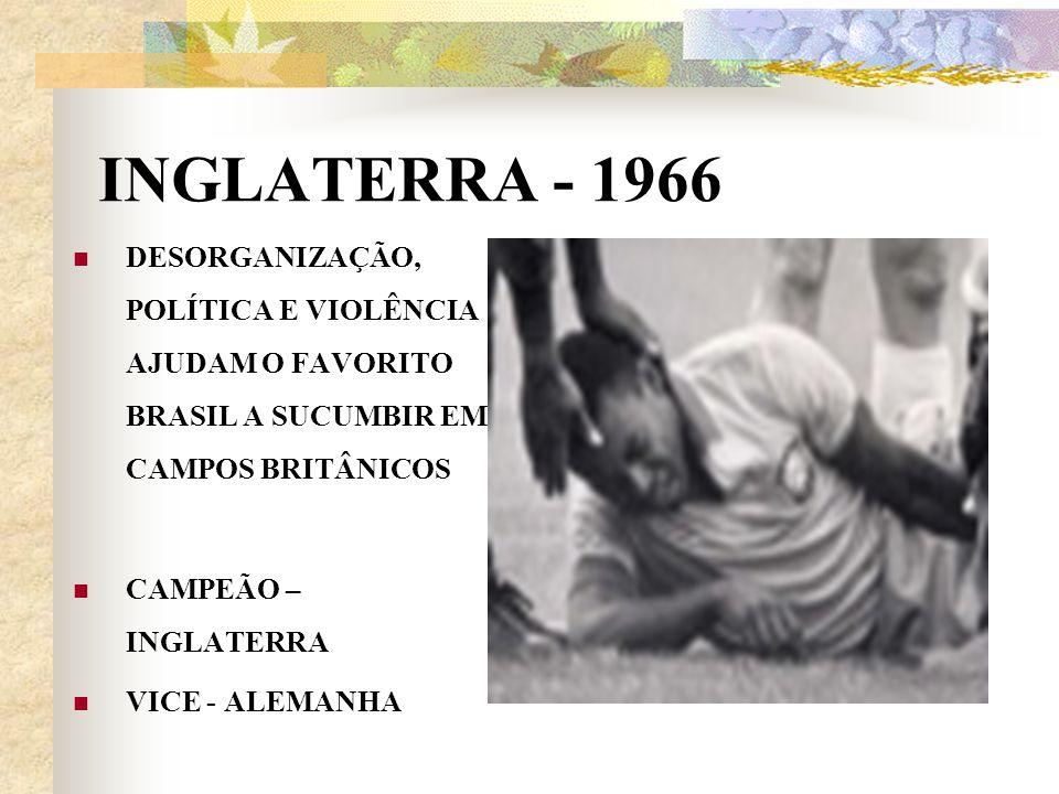 INGLATERRA - 1966 DESORGANIZAÇÃO, POLÍTICA E VIOLÊNCIA AJUDAM O FAVORITO BRASIL A SUCUMBIR EM CAMPOS BRITÂNICOS CAMPEÃO – INGLATERRA VICE - ALEMANHA
