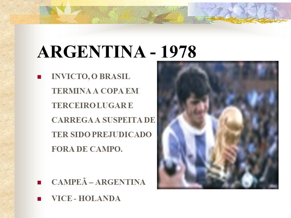 ARGENTINA - 1978 INVICTO, O BRASIL TERMINA A COPA EM TERCEIRO LUGAR E CARREGA A SUSPEITA DE TER SIDO PREJUDICADO FORA DE CAMPO. CAMPEÃ – ARGENTINA VIC