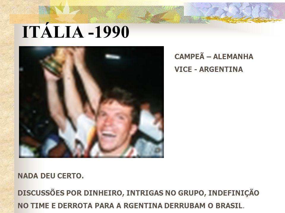 ITÁLIA -1990 NADA DEU CERTO. DISCUSSÕES POR DINHEIRO, INTRIGAS NO GRUPO, INDEFINIÇÃO NO TIME E DERROTA PARA A RGENTINA DERRUBAM O BRASIL. CAMPEÃ – ALE