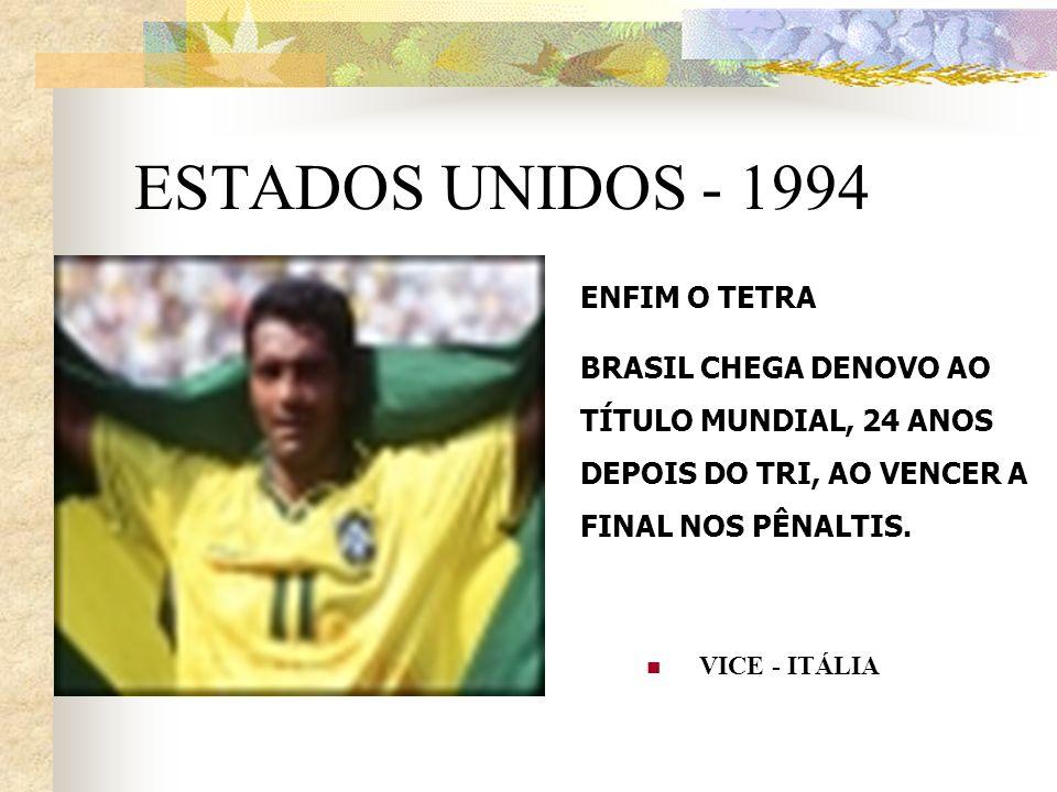 ESTADOS UNIDOS - 1994 VICE - ITÁLIA ENFIM O TETRA BRASIL CHEGA DENOVO AO TÍTULO MUNDIAL, 24 ANOS DEPOIS DO TRI, AO VENCER A FINAL NOS PÊNALTIS.