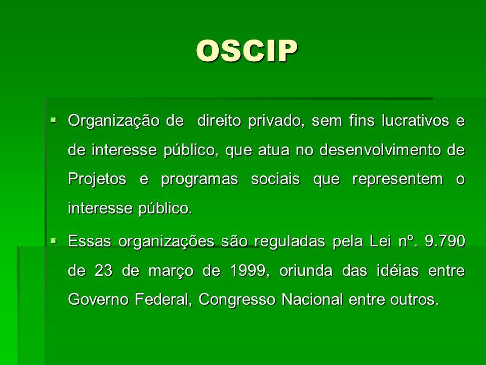 OSCIP Organização de direito privado, sem fins lucrativos e de interesse público, que atua no desenvolvimento de Projetos e programas sociais que representem o interesse público.