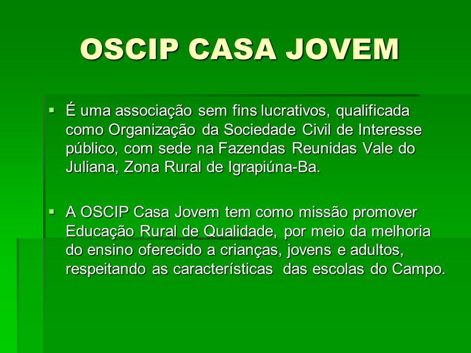OSCIP CASA JOVEM É uma associação sem fins lucrativos, qualificada como Organização da Sociedade Civil de Interesse público, com sede na Fazendas Reunidas Vale do Juliana, Zona Rural de Igrapiúna-Ba.