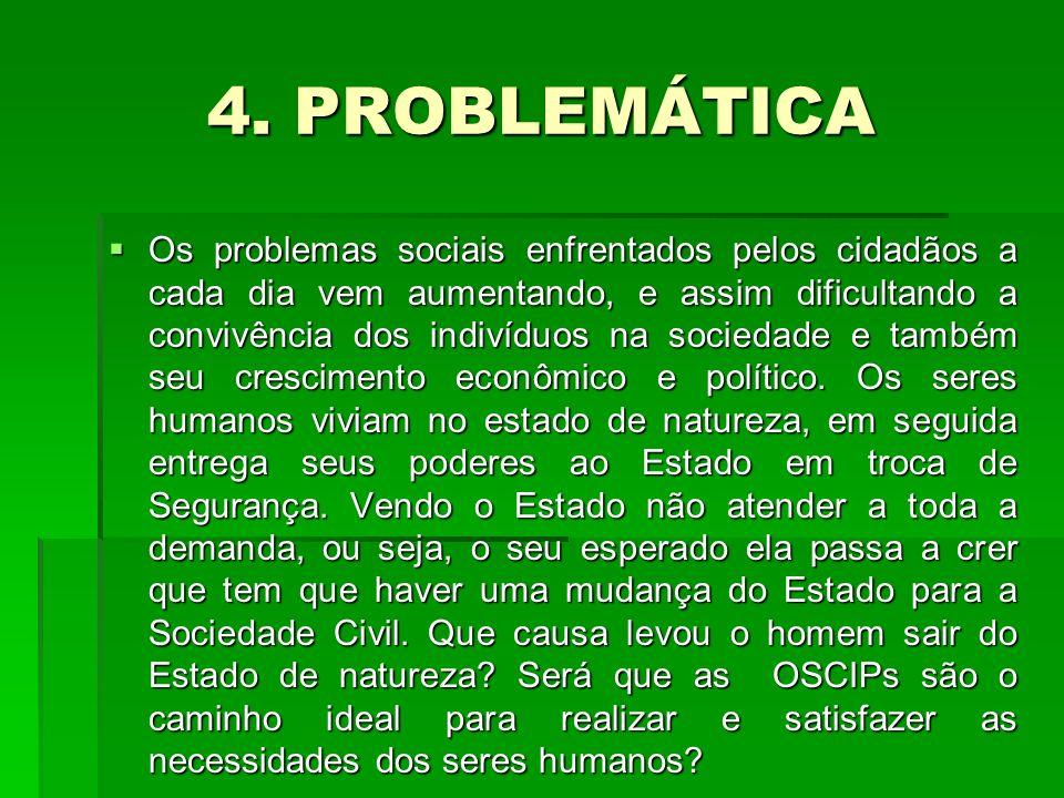 4. PROBLEMÁTICA Os problemas sociais enfrentados pelos cidadãos a cada dia vem aumentando, e assim dificultando a convivência dos indivíduos na socied