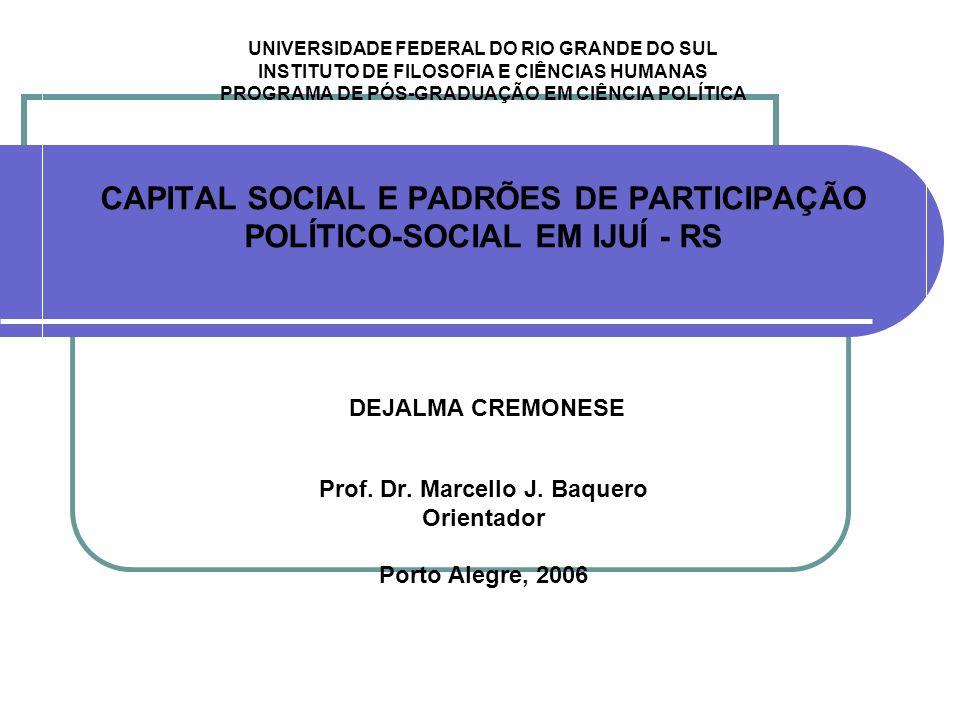 UNIVERSIDADE FEDERAL DO RIO GRANDE DO SUL INSTITUTO DE FILOSOFIA E CIÊNCIAS HUMANAS PROGRAMA DE PÓS-GRADUAÇÃO EM CIÊNCIA POLÍTICA CAPITAL SOCIAL E PAD