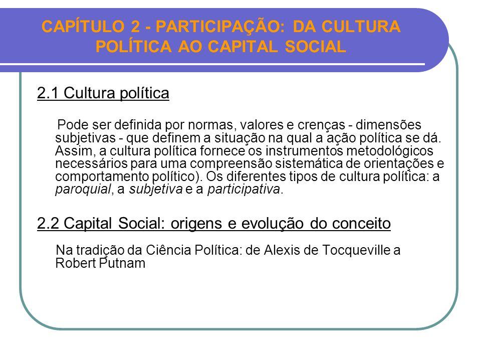 CAPÍTULO 2 - PARTICIPAÇÃO: DA CULTURA POLÍTICA AO CAPITAL SOCIAL 2.1 Cultura política Pode ser definida por normas, valores e crenças - dimensões subj